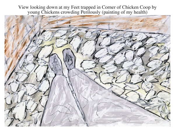 View looking down at my Feet trapped in Corner of Chicken Coop by young Chickens crowding Perilously (painting of my health)
