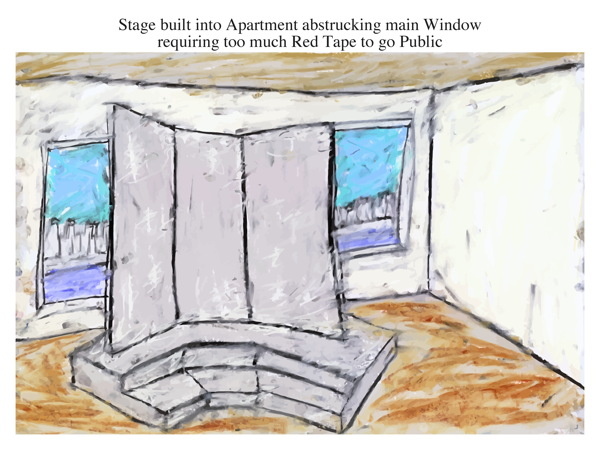 Stage built into Apartment abstrucking main Window requiring too much Red Tape to go Public