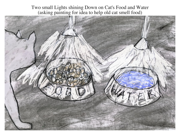 Two small Lights shining Down on Cat's Food and Water (asking painting for idea to help old cat smell food)