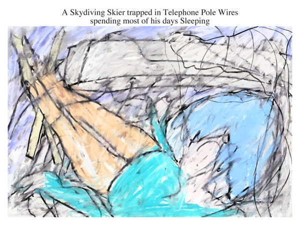 A Skydiving Skier trapped in Telephone Pole Wires spending most of his days Sleeping