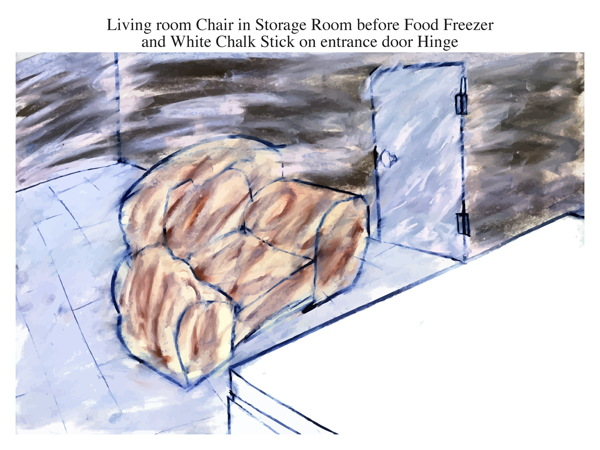Living room Chair in Storage Room before Food Freezer and White Chalk Stick on entrance door Hinge