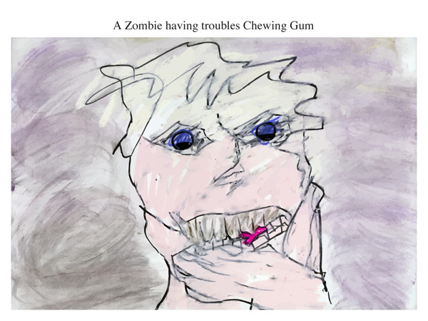 A Zombie having troubles Chewing Gum