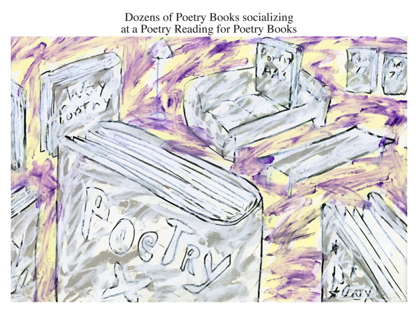 Dozens of Poetry Books socializing at a Poetry Reading for Poetry Books