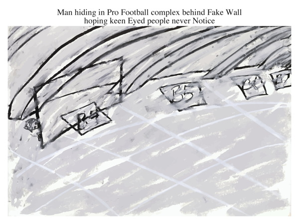 Man hiding in Pro Football complex behind Fake Wall hoping keen Eyed people never Notice