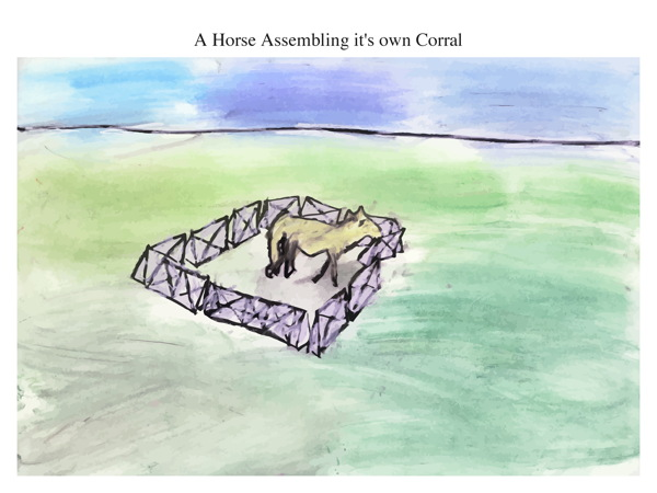 A Horse Assembling it's own Corral