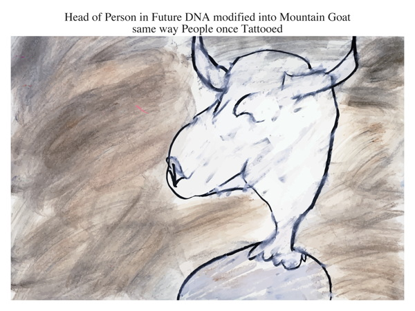 Head of Person in Future DNA modified into Mountain Goat same way People once Tattooed