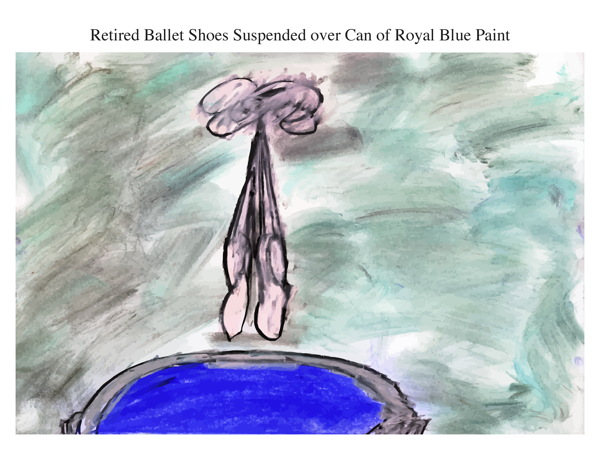 Retired Ballet Shoes Suspended over Can of Royal Blue Paint