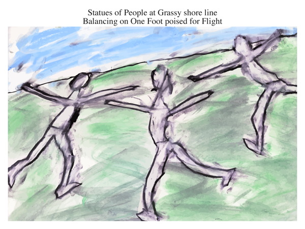 Statues of People at Grassy shore line Balancing on One Foot poised for Flight