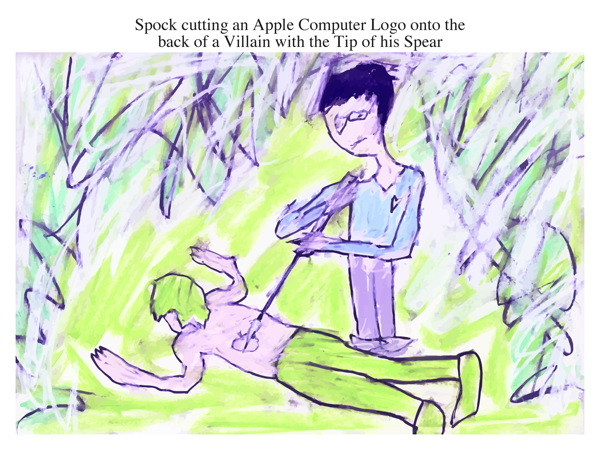 Spock cutting an Apple Computer Logo onto the back of a Villain with the Tip of his Spear