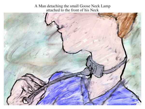 A Man detaching the small Goose Neck Lamp attached to the front of his Neck