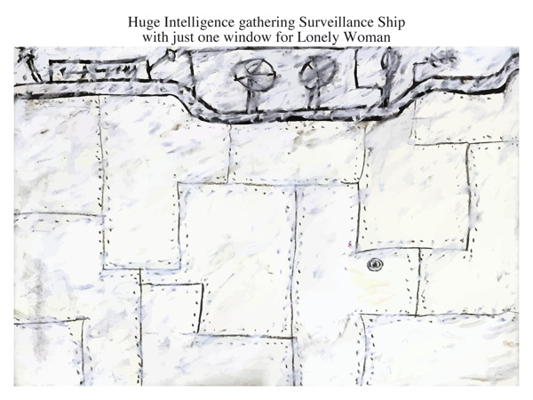 Huge Intelligence gathering Surveillance Ship with just one window for Lonely Woman