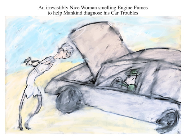 An irresistibly Nice Woman smelling Engine Fumes to help Mankind diagnose his Car Troubles