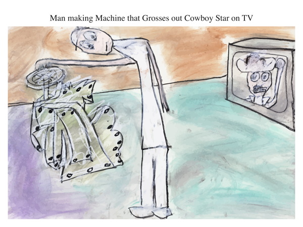 Man making Machine that Grosses out Cowboy Star on TV