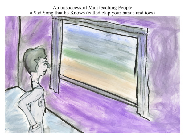 An unsuccessful Man teaching People a Sad Song that he Knows (called clap your hands and toes)