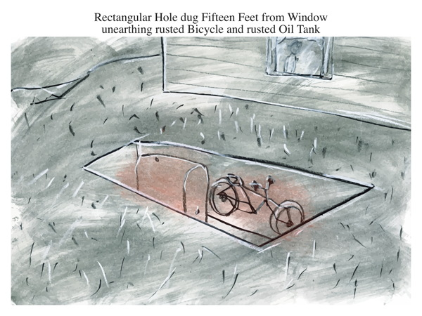 Rectangular Hole dug Fifteen Feet from Window unearthing rusted Bicycle and rusted Oil Tank