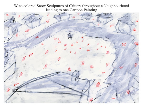 Wine colored Snow Sculptures of Critters throughout a Neighbourhood leading toone Cartoon Painting