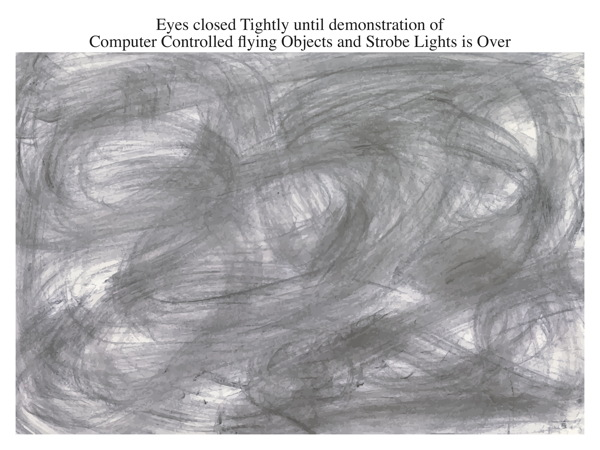 Eyes closed Tightly until demonstration of Computer Controlled flying Objects and Strobe Lights is Over
