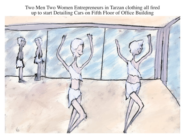 Two Men Two Women Entrepreneurs in Tarzan clothing all fired up to start Detailing Cars on Fifth Floor of Office Building