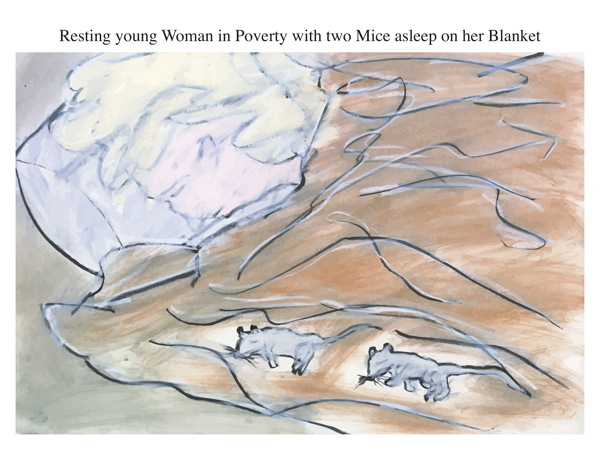 Resting young Woman in Poverty with two Mice asleep on her Blanket