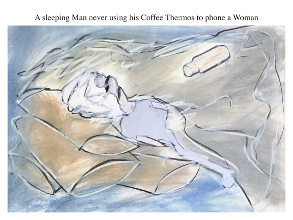 A sleeping Man never using his Coffee Thermos to phone a Woman