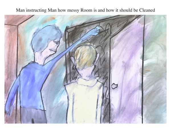 Man instructing Man how messy Room is and how it should be Cleaned