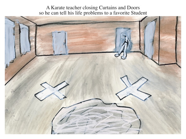 A Karate teacher closing Curtains and Doors so he can tell his life problems to a favorite Student