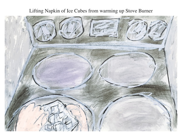 Lifting Napkin of Ice Cubes from warming up Stove Burner
