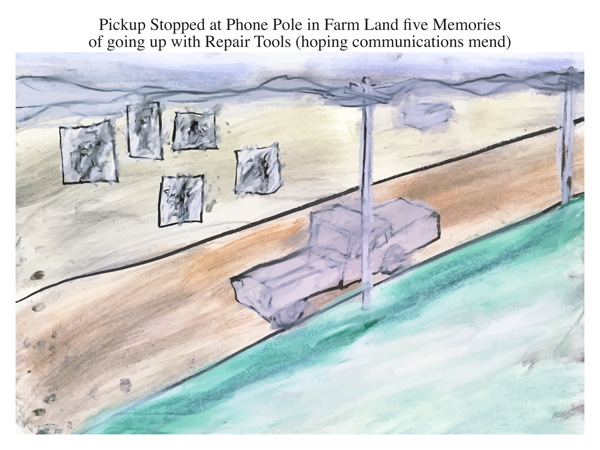 Pickup Stopped at Phone Pole in Farm Land five Memories of going up with Repair Tools (hoping communications mend)