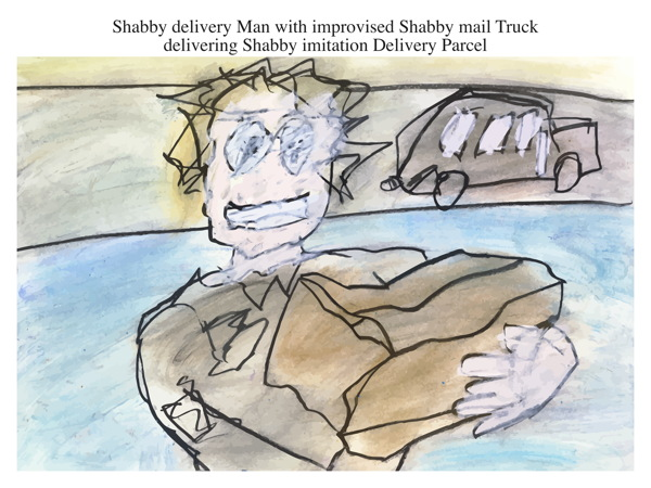 Shabby delivery Man with improvised Shabby mail Truck delivering Shabby imitation Delivery Parcel