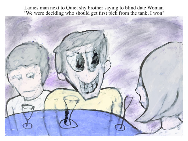 Ladies man next to Quiet shy brother saying to blind date Woman \