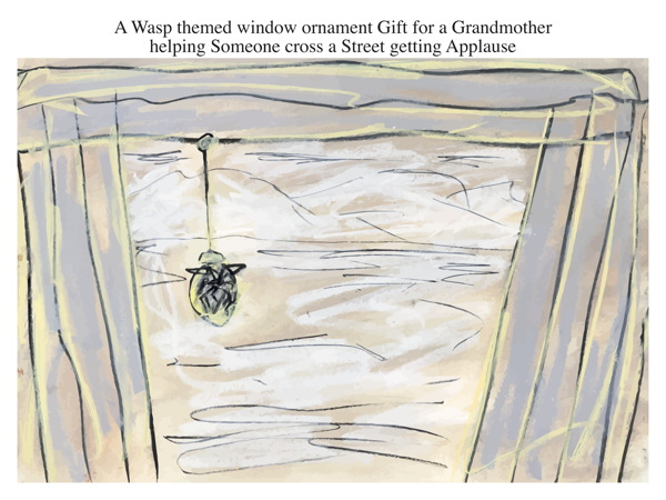 A Wasp themed window ornament Gift for a Grandmother helping Someone cross a Street getting Applause