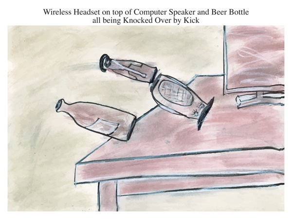 Wireless Headset on top of Computer Speaker and Beer Bottle all being Knocked Over by Kick