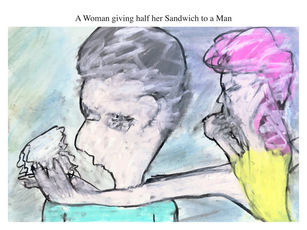 A Woman giving half her Sandwich to a Man