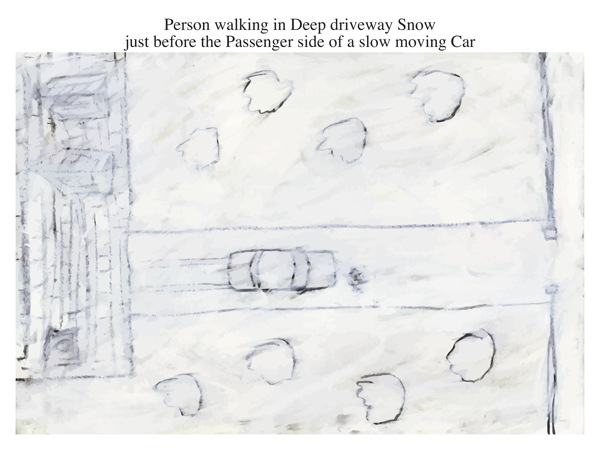 Person walking in Deep driveway Snow just before the Passenger side of a slow moving Car