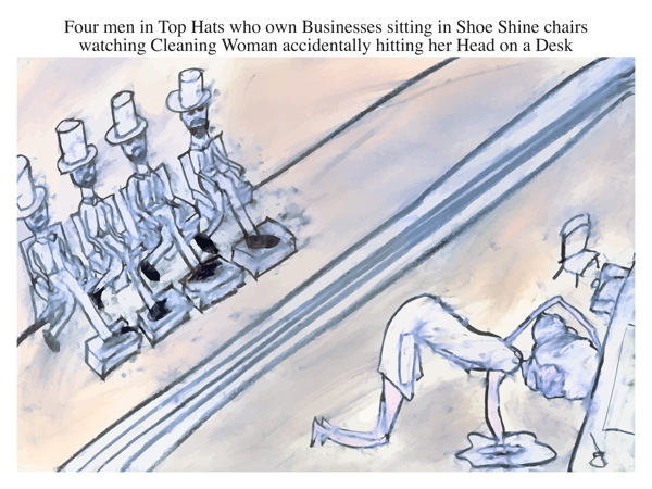 Four men in Top Hats who own Businesses sitting in Shoe Shine chairs watching Cleaning Woman accidentally hitting her Head on a Desk