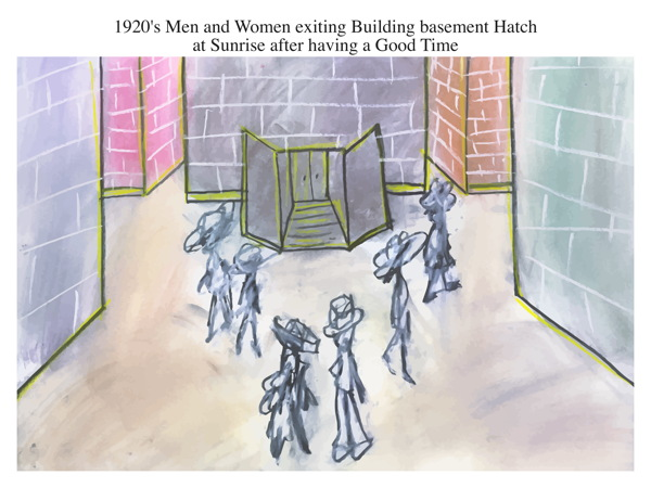 1920's Men and Women exiting Building basement Hatch at Sunrise after having a Good Time