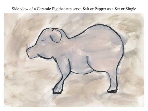 Side view of a Ceramic Pig that can serve Salt or Pepper as a Set or Single