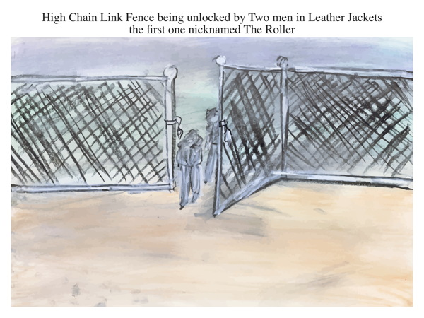 High Chain Link Fence being unlocked by Two men in Leather Jackets the first one nicknamed The Roller