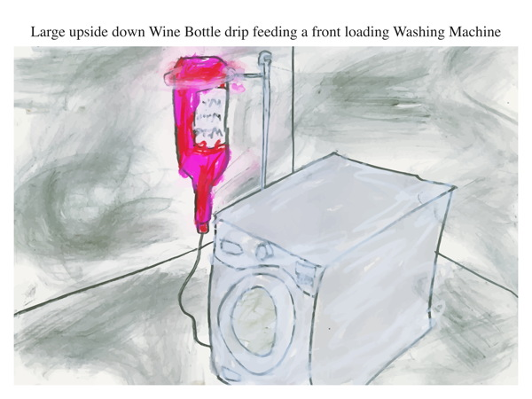 Large upside down Wine Bottle drip feeding a front loading Washing Machine