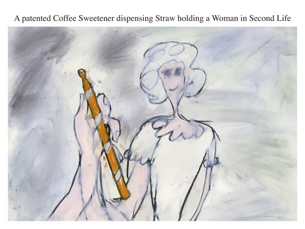 A patented Coffee Sweetener dispensing Straw holding a Woman in Second Life