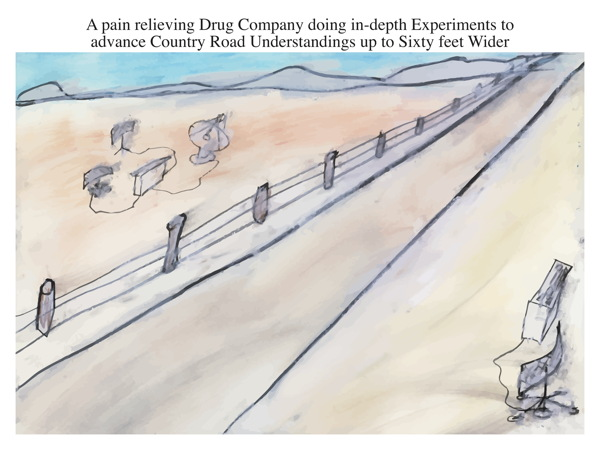 A pain relieving Drug Company doing in-depth Experiments to advance Country Road Understandings up to Sixty feet Wider
