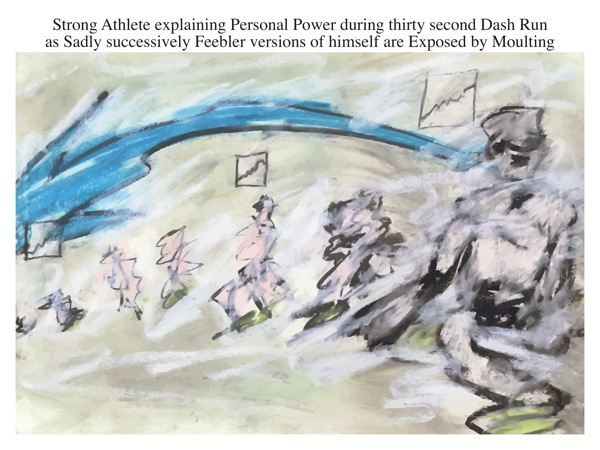 Strong Athlete explaining Personal Power during thirty second Dash Run as Sadly successively Feebler versions of himself are Exposed by Moulting