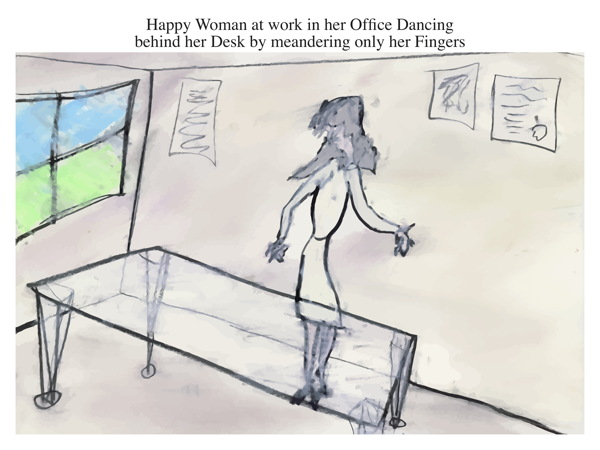 Happy Woman at work in her Office Dancing behind her Desk by meandering only her Fingers