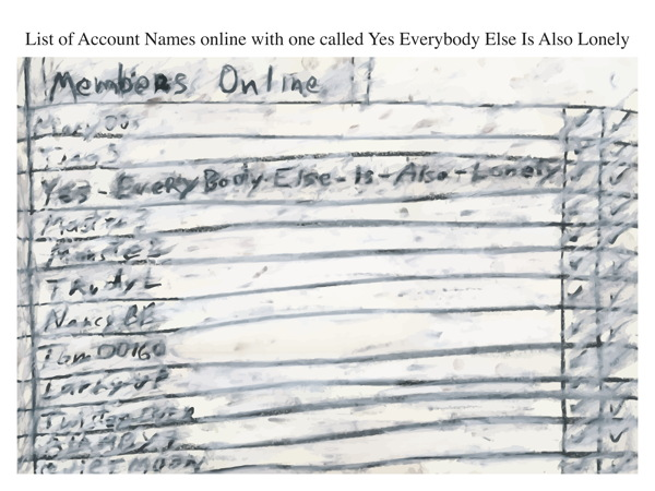 List of Account Names online with one called Yes Everybody Else Is Also Lonely