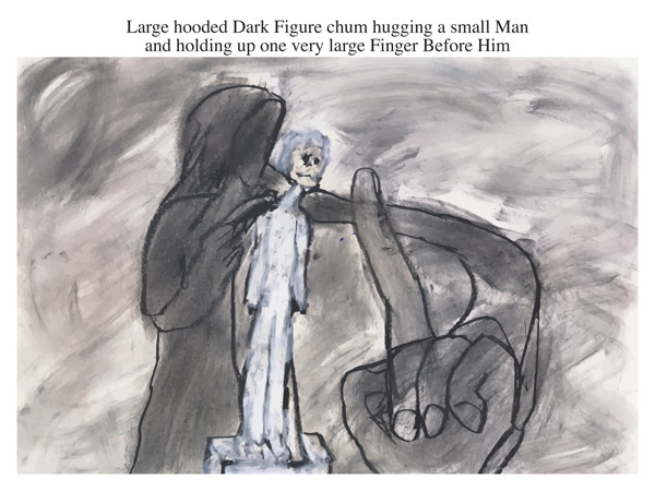 Large hooded Dark Figure chum hugging a small Man and holding up one very large Finger Before Him