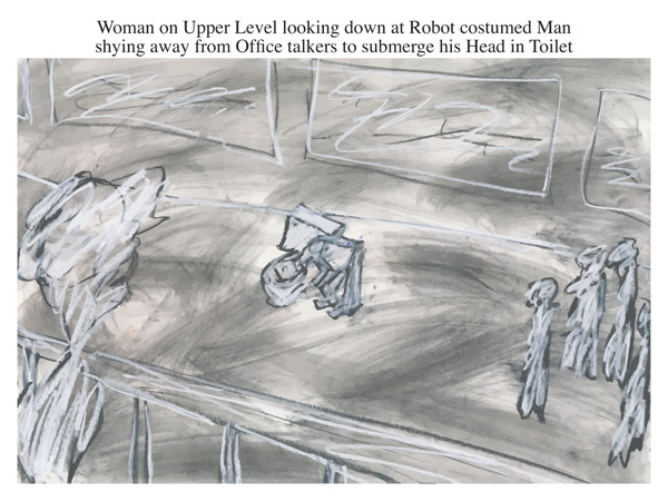 Woman on Upper Level looking down at Robot costumed Man shying away from Office talkers to submerge his Head in Toilet
