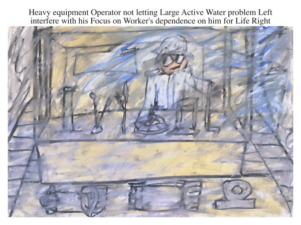 Heavy equipment Operator not letting Large Active Water problem Left interfere with his Focus on Worker's dependence on him for Life Right