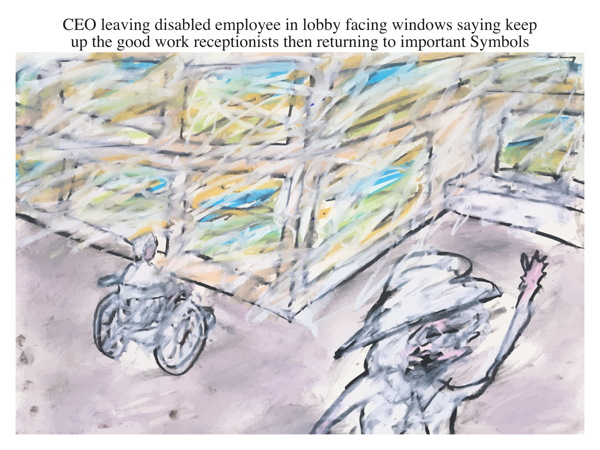 CEO leaving disabled employee in lobby facing windows saying keep up the good work receptionists then returning to important Symbols