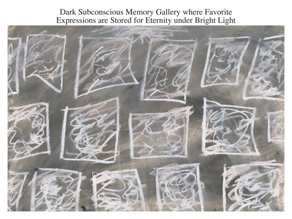 Dark Subconscious Memory Gallery where Favorite Expressions are Stored for Eternity under Bright Light