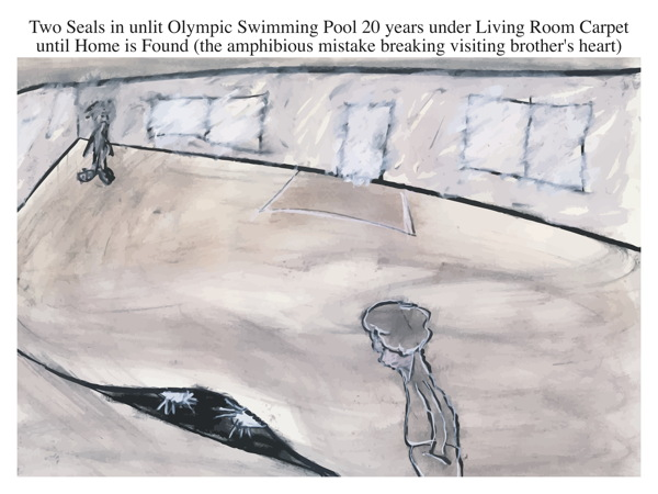 Two Seals in unlit Olympic Swimming Pool 20 years under Living Room Carpet until Home is Found (the amphibious mistake breaking visiting brother's heart)